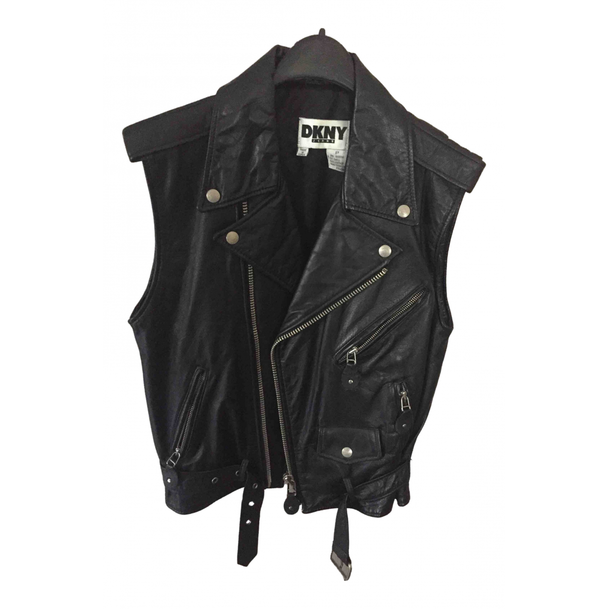 Dkny \N Black Leather Leather jacket for Women 42 IT