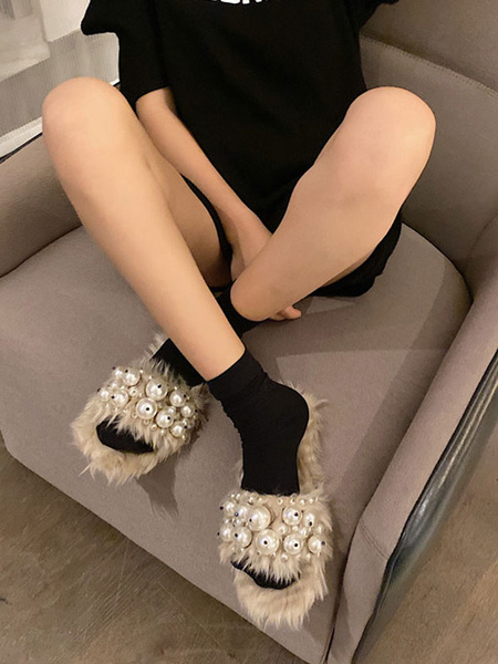 Milanoo Faux Fur Slippers Women Open Toe Pearls Detail Winter Slides