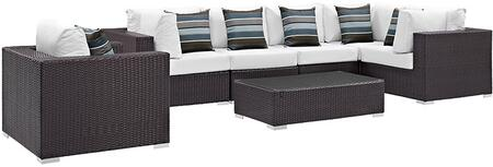 Convene Collection EEI-2350-EXP-WHI-SET 7 PC Outdoor Patio Sectional Set with 3 Armchairs  1 Corner Chair  2 Armless Chairs  1 Glass Top Coffee Table