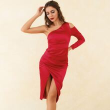 Lucra Neon Red One Shoulder Cut Out Wrap Satin Dress