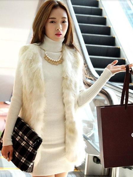 Milanoo Ecru White Chic Vest Faux Fur Polyester Vest for Women