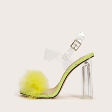 Clear Faux Fur Decor Chunky Heeled Sandals