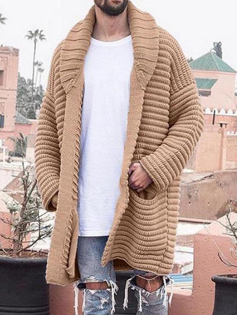 Ericdress Plain Mid-Length Lapel Casual Winter Sweater
