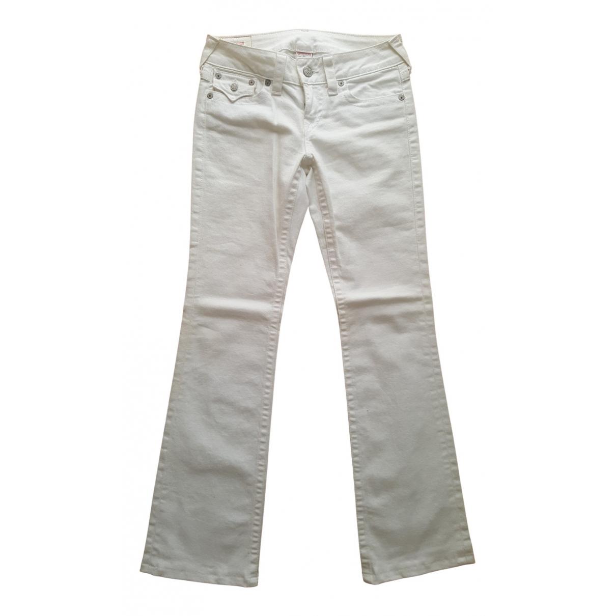True Religion \N White Cotton - elasthane Jeans for Women 38 FR