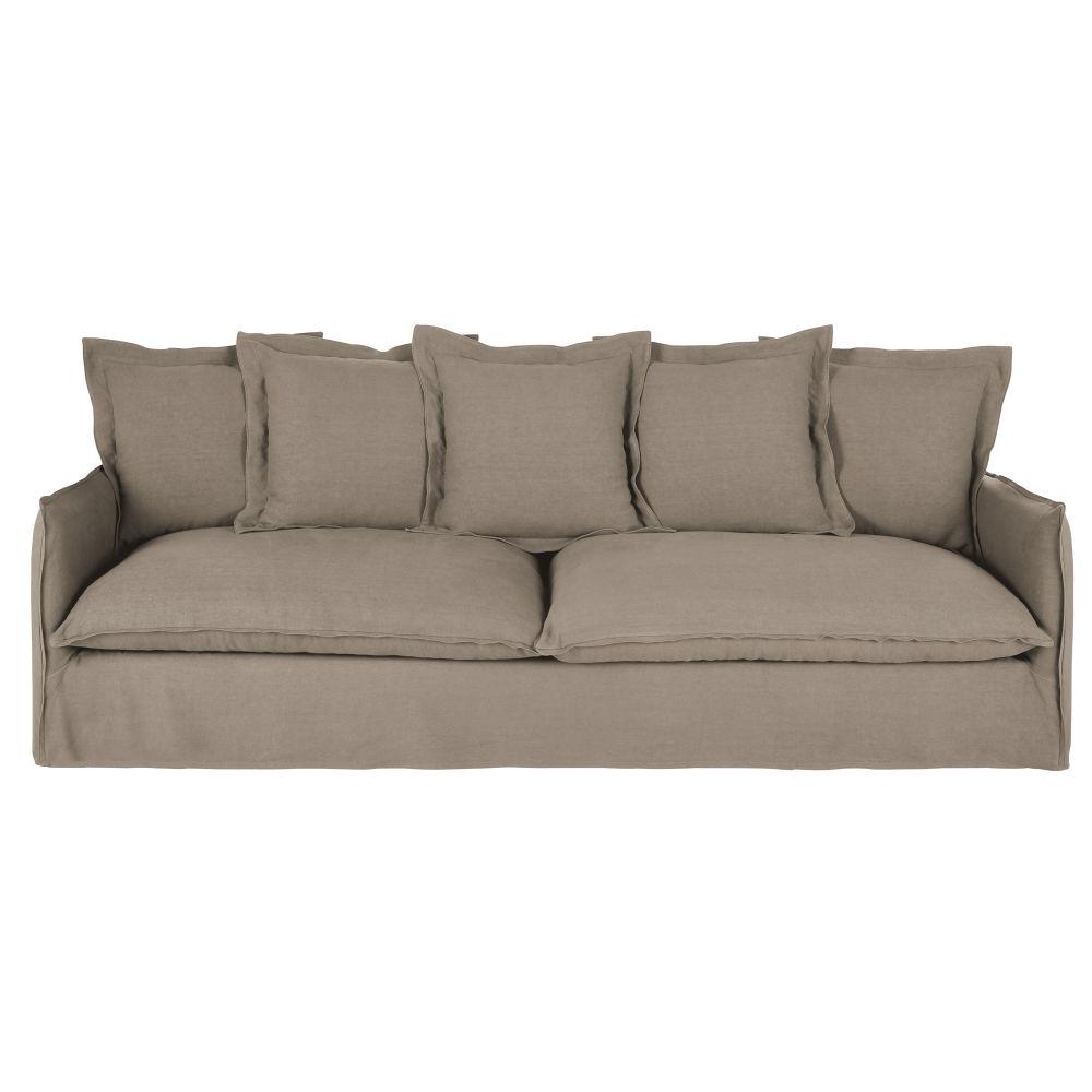 5-Sitzer-Sofa mit dickem hellbeigem Leinenbezug Barcelone