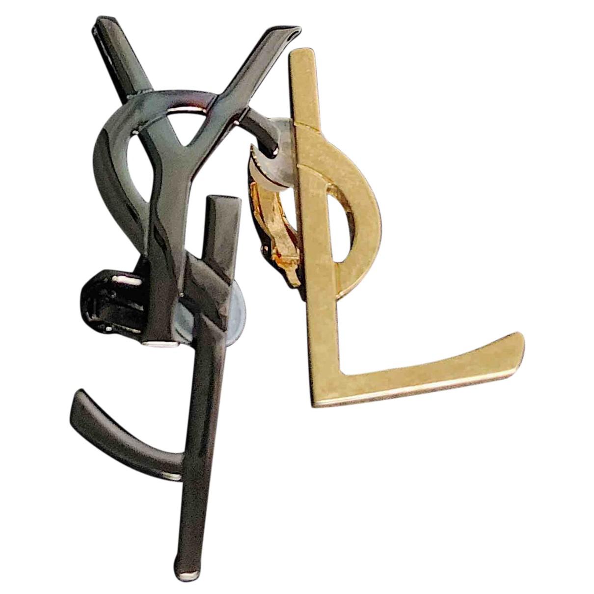 Saint Laurent - Boucles doreilles Monogramme pour femme en metal - dore