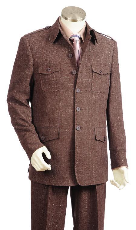 5 Button Brown Zoot Suit Mens