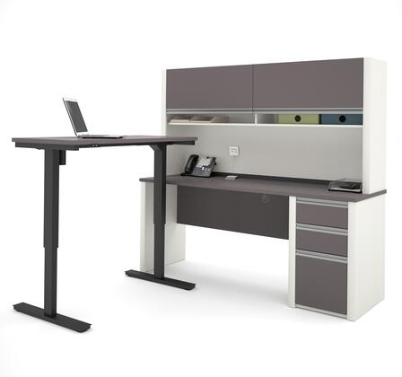 Connexion Collection 93886-59 71 L-shaped Desk with Hutch  Electric Height Adjustable Table  Three Drawers and Wire Management in Slate and