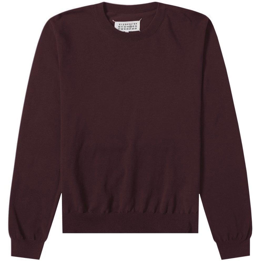 Maison Margiela Elbow Patch Pullover Jumper Colour: BURGUNDY, Size: LARGE