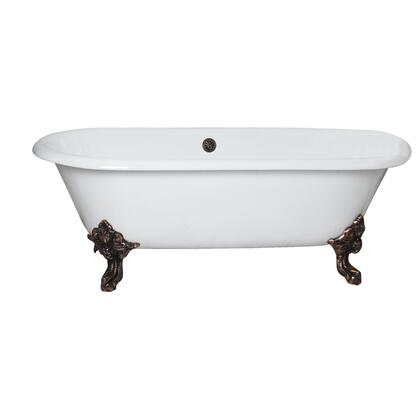 CTDRN72-WH-BN Gallagher CI 72 Double Roll Tub No Holes  Brush Nickel