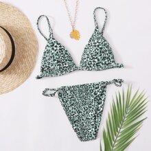 Leopard Triangle Tanga Bikini Swimsuit
