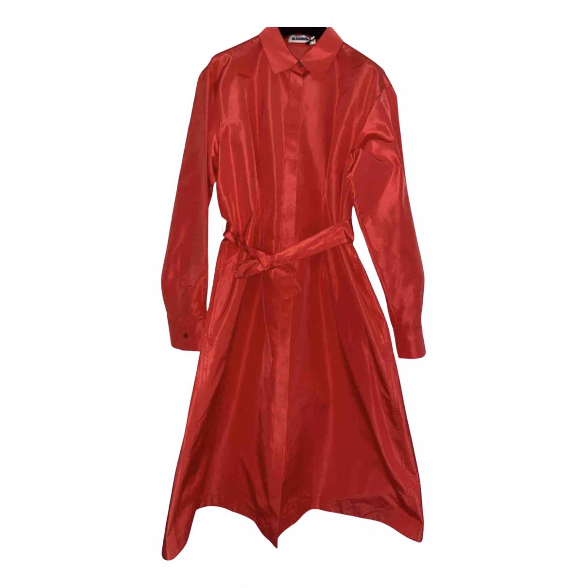 Jil Sander - Trench   pour femme en soie - rouge