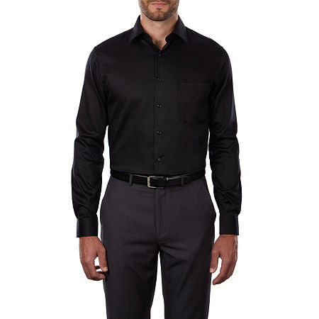 Van Heusen Lux Sateen Stretch Long Sleeve Dress Shirt, 17 32-33, Black
