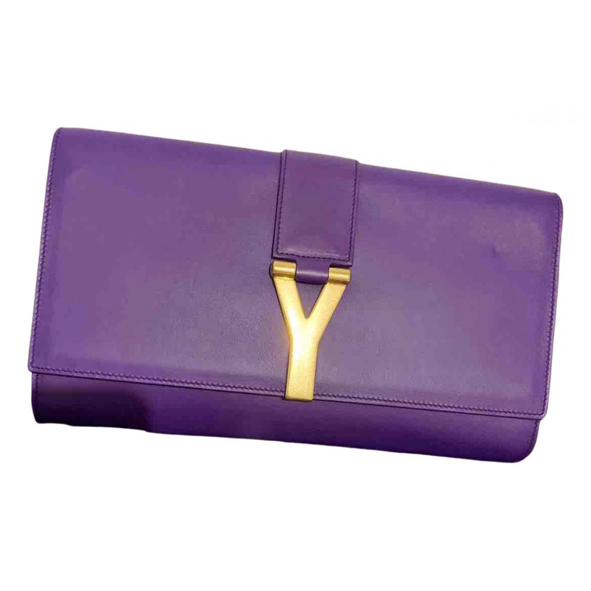 Saint Laurent - Pochette Chyc pour femme en cuir - violet