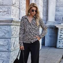 Leopard Print Button Up Blouse