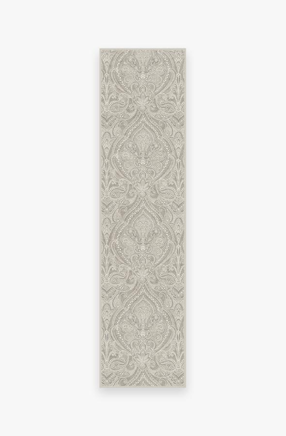 Washable Rug Cover | Lacis Damask Stone Rug | Stain-Resistant | Ruggable | 2.5'x10'