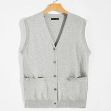 Men Button Up Solid Sweater Vest