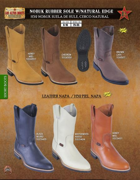 Mens Leather and Nobuk w/ Natural Edge Short Boots Diff. Colors/Sizes