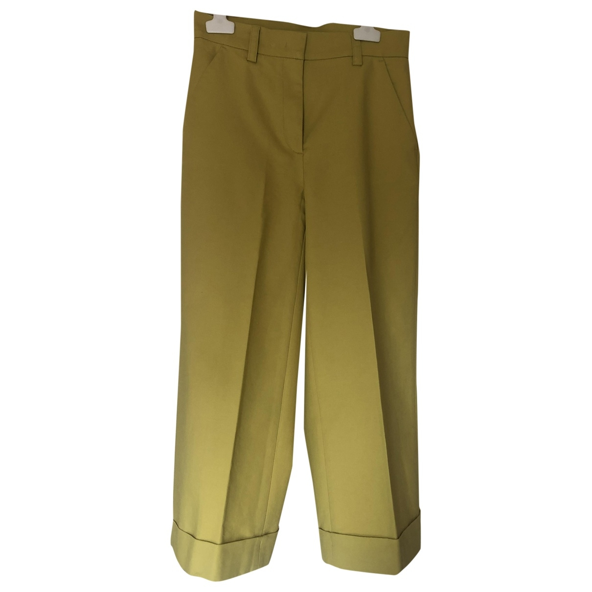 Moncler \N Yellow Cotton Trousers for Women 38 IT