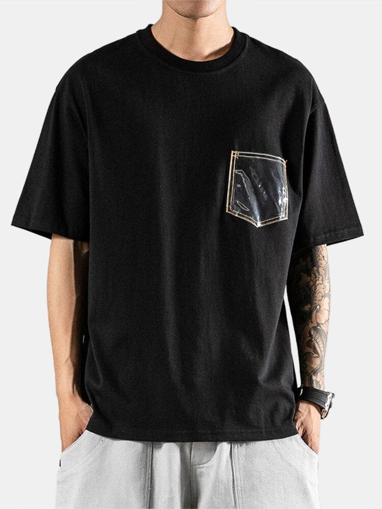 Mens Basic Chest Pocket Round Neck Short Sleeve T-shirt