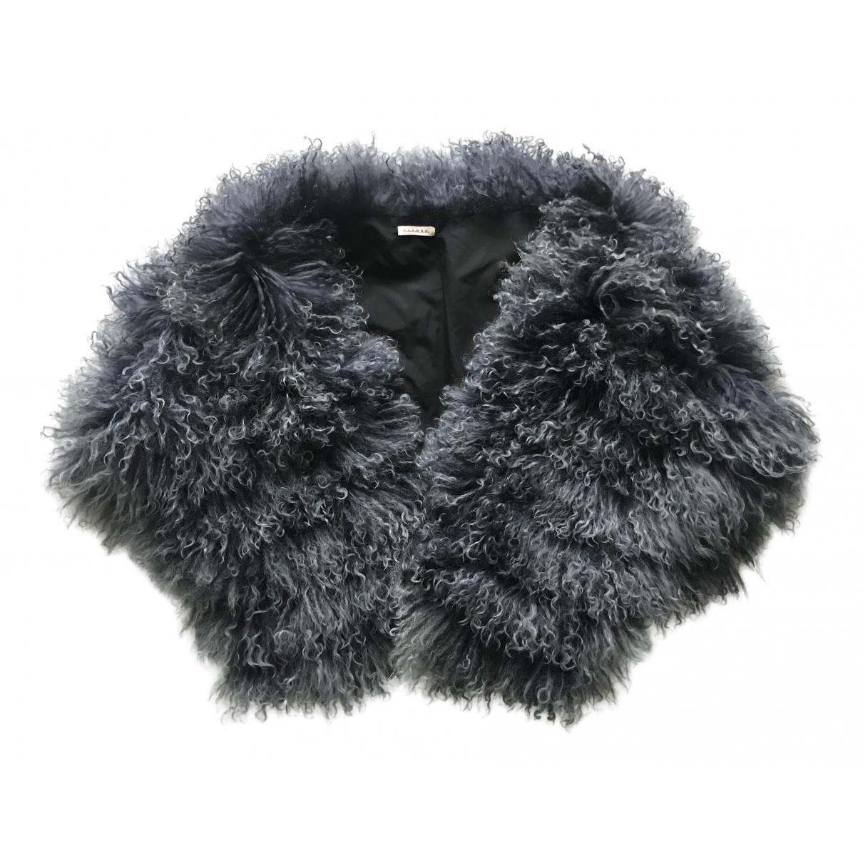 Parosh - Manteau   pour femme en agneau de mongolie - bleu