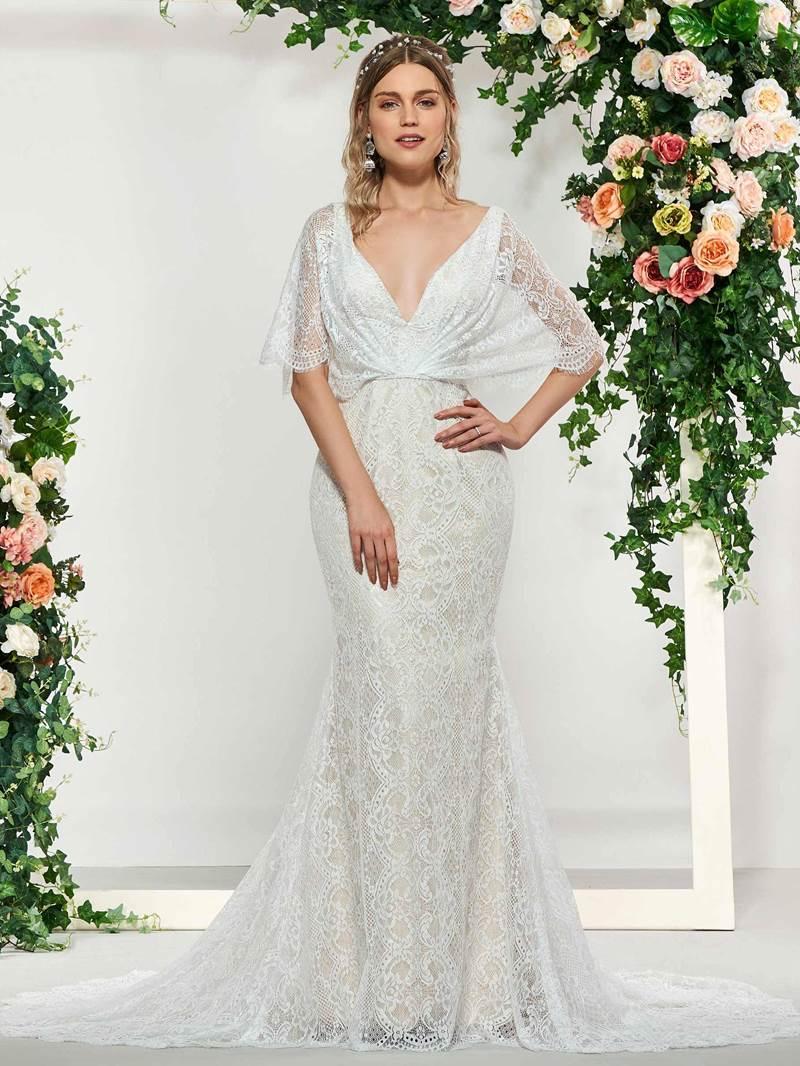 Ericdress V-Neck Beading Lace Mermaid Wedding Dress