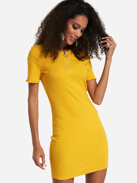 Yoins Yellow Zip Front Round Neck Short Sleeves Bodycon Dress
