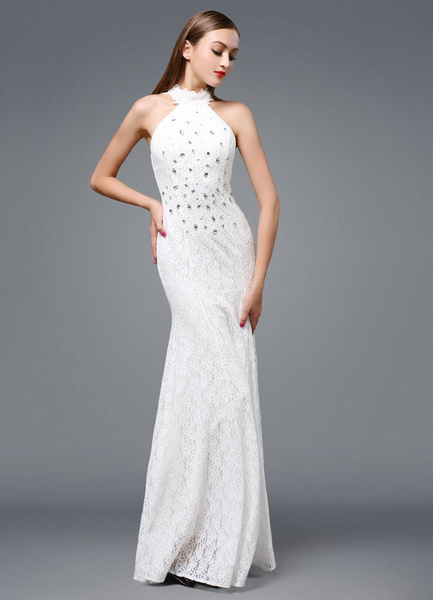 Milanoo Beach Wedding Dress Lace Backless Evening Dress Halter Beading Floor-length Party Dress