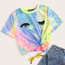 T-Shirt mit Batik und Augen Muster