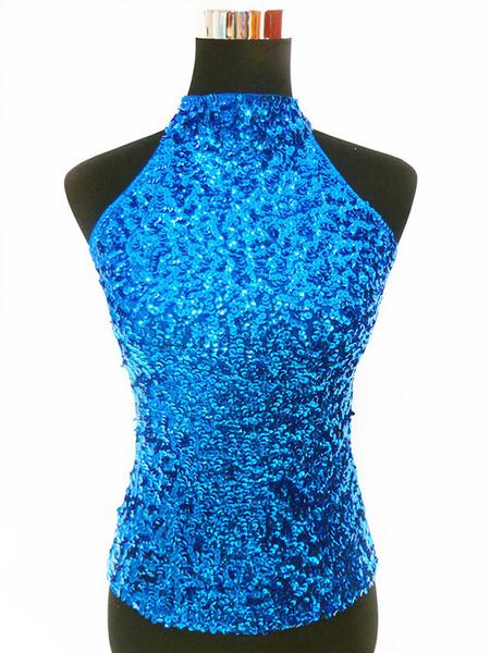 Milanoo Dance Costumes Latin Dancer Top Glitter Royal Blue Women Dancing Clothing Hallloween