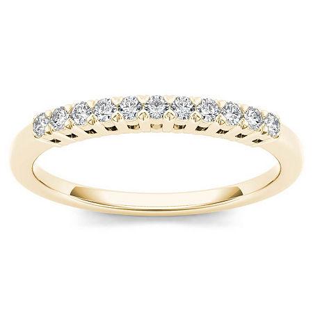 2MM 1/5 CT. T.W. Genuine White Diamond 10K Gold Wedding Band, 9 , Multiple Colors