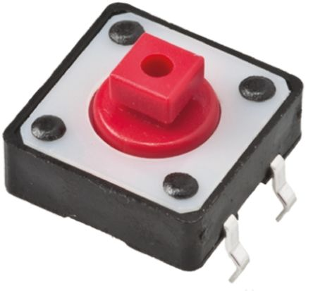 TE Connectivity Red Button Tactile Switch, Single Pole Single Throw (SPST) 50 mA @ 24 V dc 1.8mm (5)