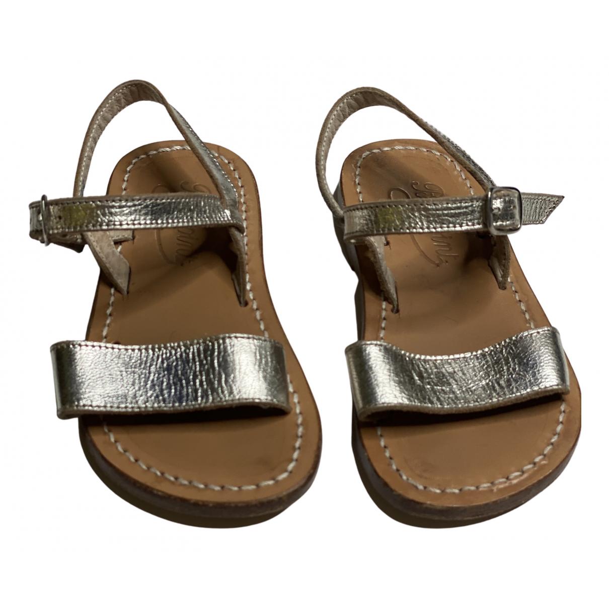 Bonpoint - Sandales   pour enfant en cuir - argente