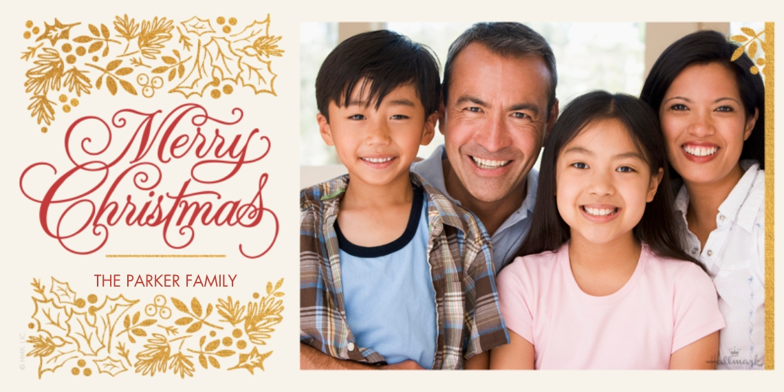 Christmas Photo Cards Flat Matte Photo Paper Cards with Envelopes, 4x8, Card & Stationery -Elegant Christmas and Holly
