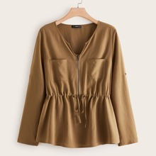 Plus Pocket Patched Drawstring Waist Zip Front Top