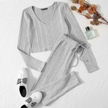 V-Neck Rib-knit Top & Leggings Set
