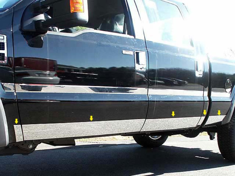Quality Automotive Accessories 10 Piece Stainless Stainless Steel Rocker Panel Trim Kit Ford F-250F-350  11-16