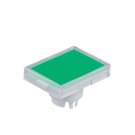 NKK Switches Green/Clear Push Button Cap, for use with YB Series Pushbuttons, Rectangular Solid Cap