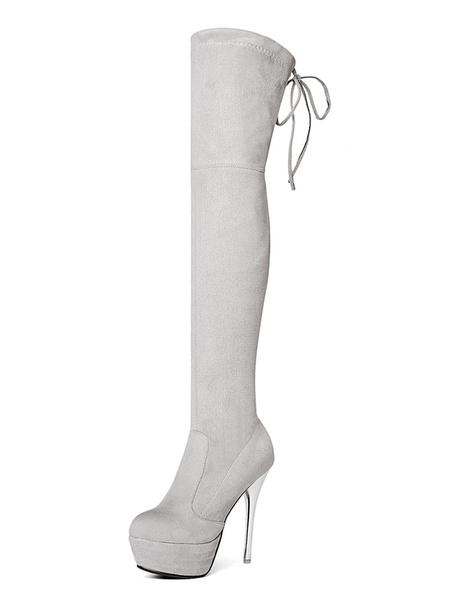 Milanoo Women Red Boot Lace Up Stiletto Platform High Heel Sexy Thigh High Boot