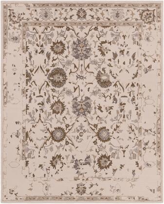 Castille CTL-2012 8' x 10' Rectangle Traditional Rug in Khaki  Dark Brown  Denim  Medium