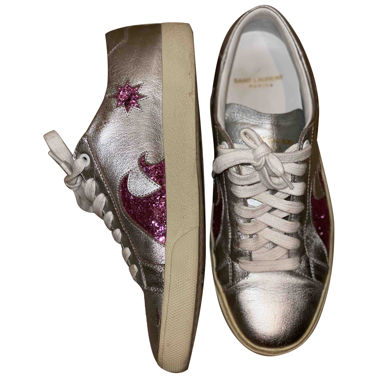 Saint Laurent Andy Silver Leather Trainers for Women 39 EU