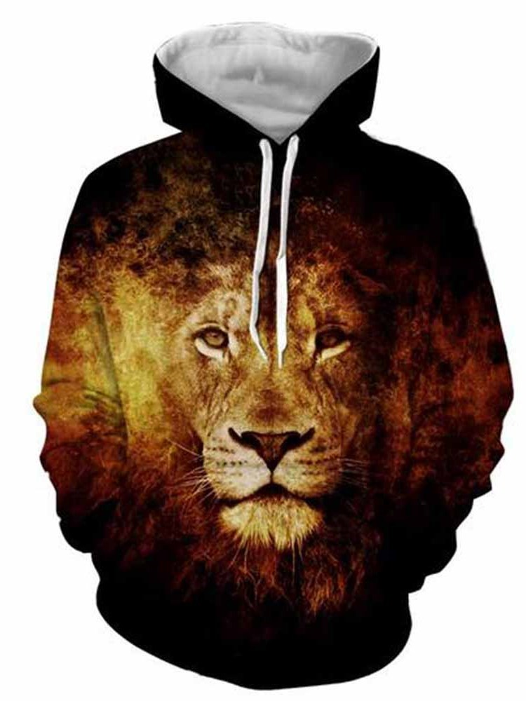 Long Sleeve Lion Face Printed 3D Men's Front Pocket Pullover Hoodies