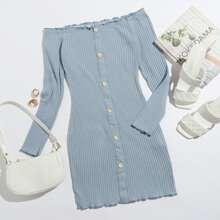 Off Shoulder Buttoned Front Lettuce Trim Rib-knit Dress