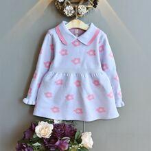 Toddler Girls Floral Pattern Flounce Sleeve Sweater Dress