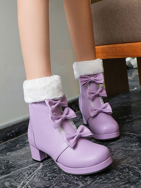 Milanoo Sweet Lolita Boots Round Toe Black Bows Chunky Heel Lolita Boots