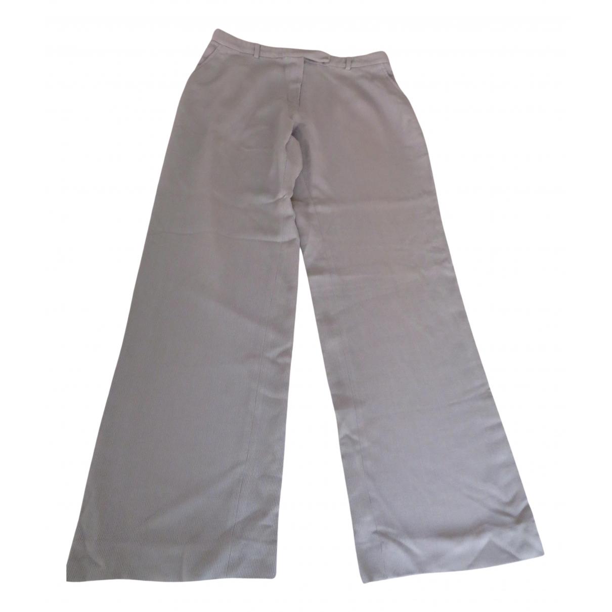 Armani Collezioni N Grey Silk Trousers for Women 46 IT