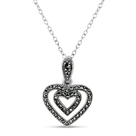Sterling Silver Heart Pendant Necklace featuring Swarovski Genuine Marcasite, One Size , No Color Family