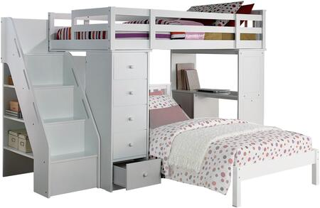 Freya Collection 37145 Twin Loft Bed and Bookcase Ladder with 3 Drawer Desk  5 Drawer Chest  4 Steps  3 Shelves  Side Metal Glide Drawers  Rubberwood