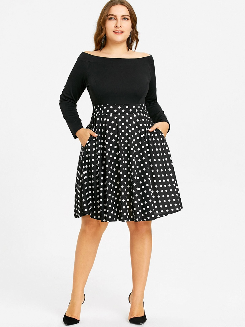 Ericdress Plus Size Knee-Length Off Shoulder Zipper Polka Dots Dress