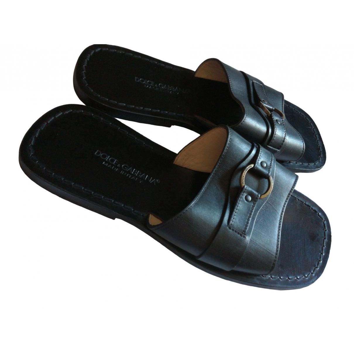 Dolce & Gabbana \N Black Leather Sandals for Men 8.5 UK